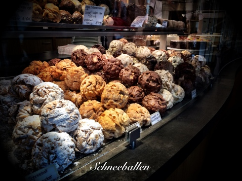 Schneeballen are the pastry of Rothenburg. They are fried balls of cookie dough, filled or not filled, then coated in a variety of toppings.