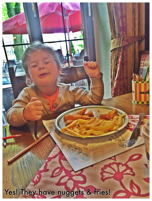 Neve's reaction every time we find a restaurant that has French Fries. <3 Chicken nuggets are just a bonus.