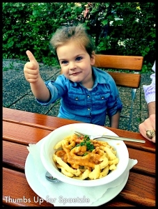 Spaetzle is the German equivalent of Italian pasta, except it's made from potatoes instead of semolina. It comes with gravy, or cheese, or butter and garlic, or...Neve is a fan. We all are, actually!