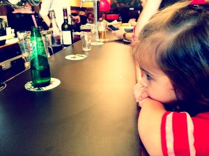 When there's an hour wait for a table, you take a seat at the bar. 3 year olds and all!
