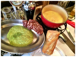 Swiss Fondue and Pesto Escalope