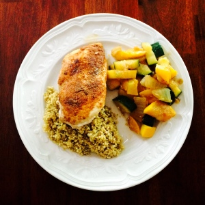 Blackened Chicken over Cilantro Lime Quinoa with Zucchini Squash Medley