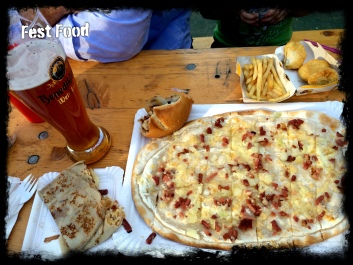 Flammkuchen, Crepe, Pork Burger, fries (and nuggets), and beer :)