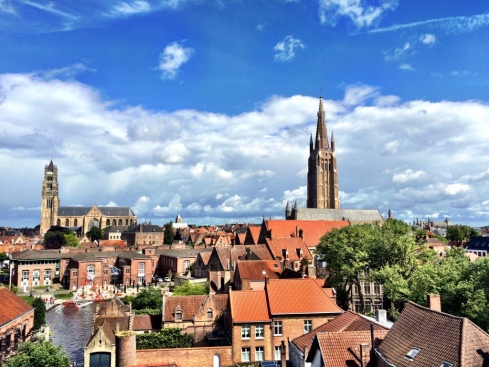 From the top of the Brewery...Looking across Bruges toward the sea...