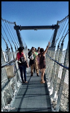 I tell you what. Some tourists are nothing short of  special. Shorts romper, wedge heeled sandals, 35F...Then karma came around, the wind blew, the bridge swayed and she toppled over.
