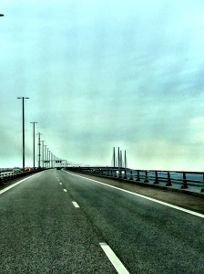 Crossing the LONG bridge- and then a tunnel- from Sweden into Denmark...