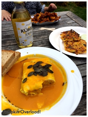 Pumpking Maultaschen (German Ravioli- my favorite!) in Pumpkin Soup...Pumpkin Latke, Pumpkin Fries (better than sweet potato!)...and Pumpkin Prosecco to wash it all down!