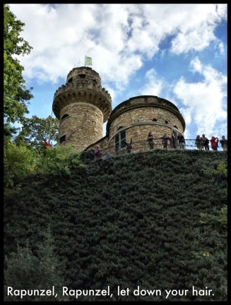 Rapunzel's castle...You can see her long braided hair (with red bow) descending from the tower...