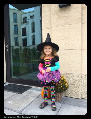 Can't get into a post before I share a cute picture of our sweet Rainbow Witch! This was yesterday, headed to her school Halloween Party :)